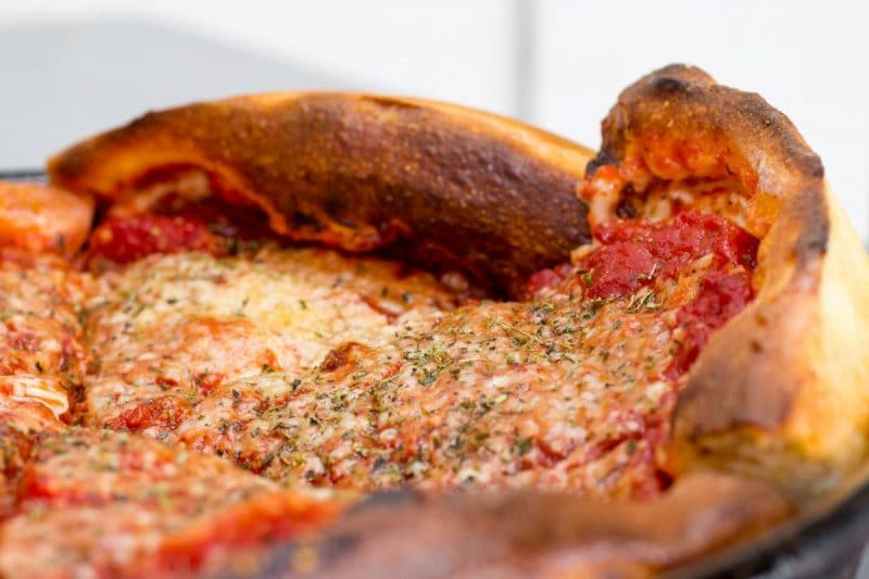 a Chicago pan style pizza from Giuseppe's Pizzeria in Palm Springs