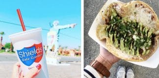 A Date Shake from Shields Date Garden and a taco from Crazy Coyote Tacos - the best things to eat in Palm Springs