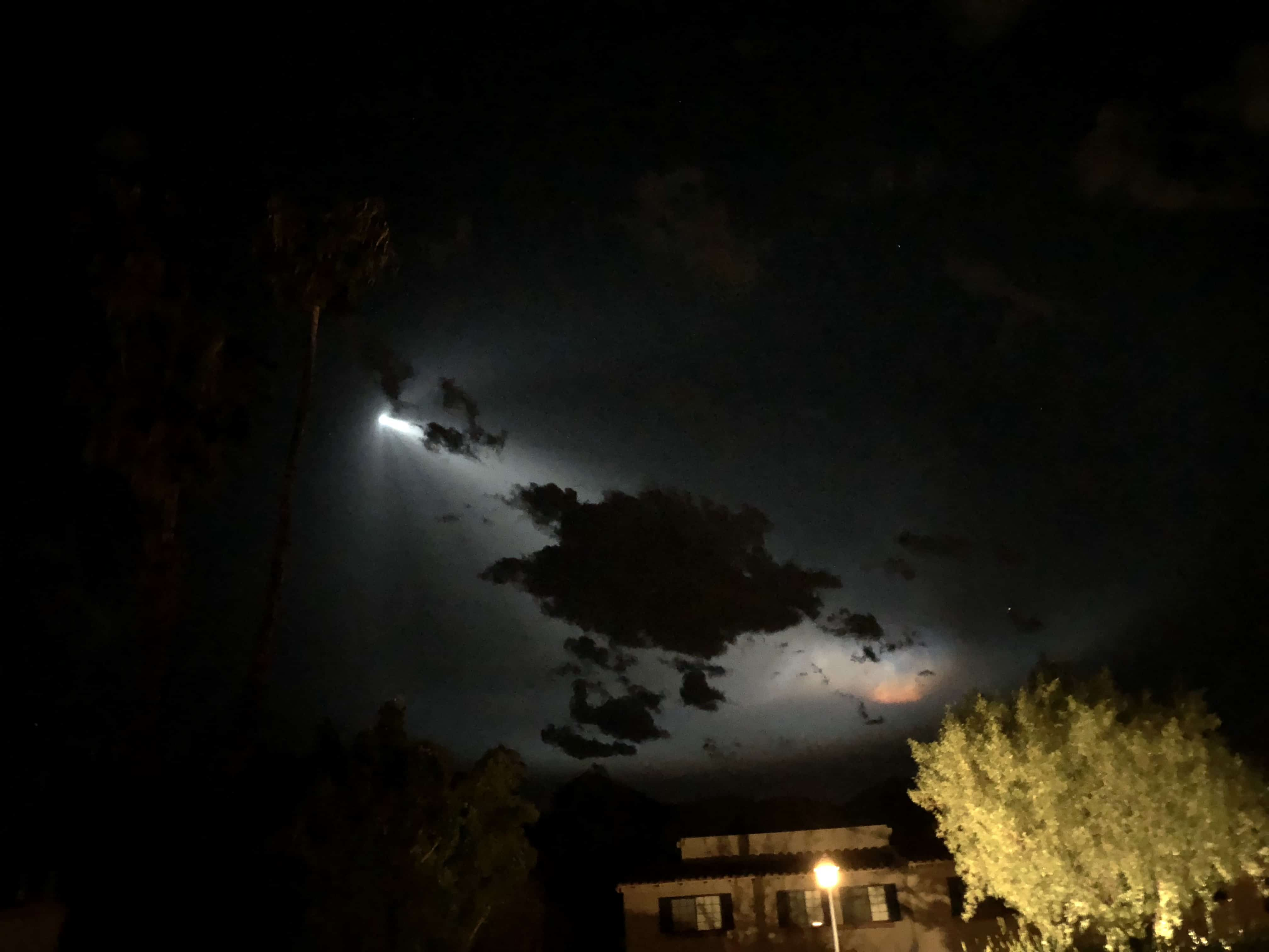 Falcon 9 rocket lights up the sky over Palm Springs, Southern