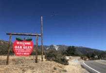 A sign denotes Oak Glen, California