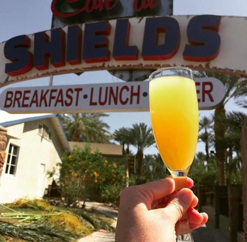 A mimosa served at the Cafe at Shields at Shield's Date Garden during breakfast in Indio, California