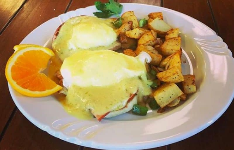 Eggs benedict at Serano's Juice Bar in Indio