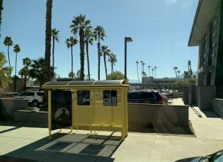 Peace is the Only Shelter, a three bus stop installation in Palm Springs for Desert X