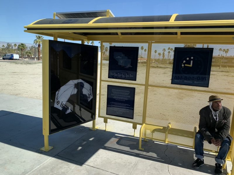 The Palm Springs bus stops called Peace is the Only Shelter for Desert X in Palm Springs