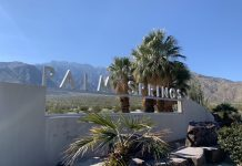 The iconic Palm Springs sign located at the Visitors Center at the base of the tram