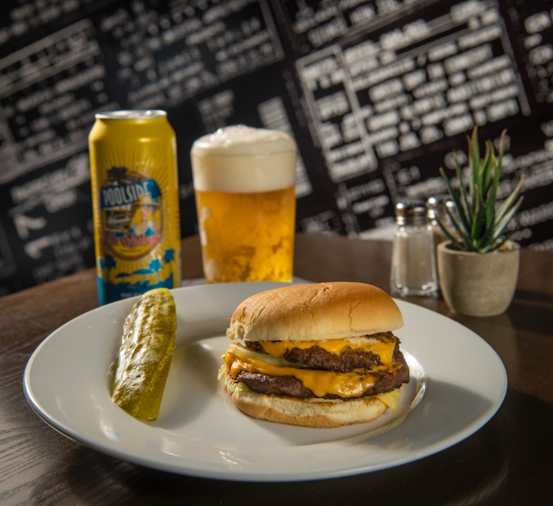 A cheeseburger and La Quinta Brewing Beer at Little Bar in Palm Desert